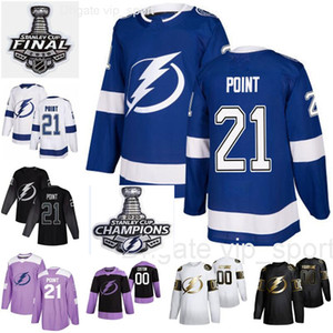 ingrosso punto blu-Champions Stanley Cup Finali Brayden Point Maglie Uomo Donna Bambini Tampa Bay Lightning Hockey Blue Team Uomo Bianco Nero donna gioventù