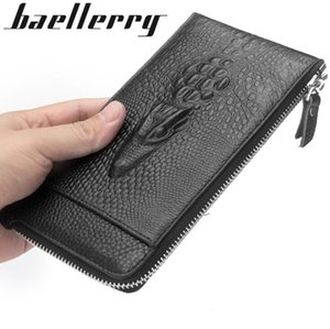 Wholesale dermis resale online - Factory independent brand men package fashion alligator dermis men wallet multifunctional leather hand long wallet business multi Card Walle