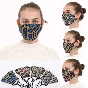 US STOCK Fashion Bling Bling Leopard Sequins Face Mask Dustproof Mouth Masks Designer Washable Reusable Women Face Mask FY9240