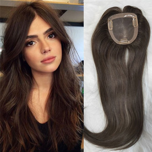 Wholesale hair topper resale online - 100 Virgin European Human Hair Topper Dark Brwon color x11cm Mono Base Toupee for Women Slik Straight Clip in Topper