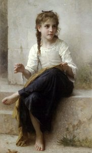 Wholesale painting girl figure for sale - Group buy Bouguereau Portrait Nice young girl Sewing Home Decor Handpainted HD Print Oil Painting On Canvas Wall Art Canvas Pictures