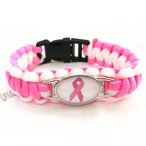 Wholesale awareness ribbon jewelry resale online - Charm Awareness Ribbon fashionP739Umbrella Paracord Cancer Colour Braided Bracelet Friendship Outdoor Camping Jewelry