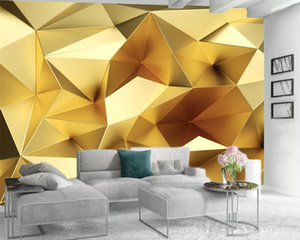 Luxury 3d Wallpaper Custom Mural Wallpaper 3d European Luxury Golden Geometric Polygon Living Room TV Background Bound Wall 3d Wallpaper