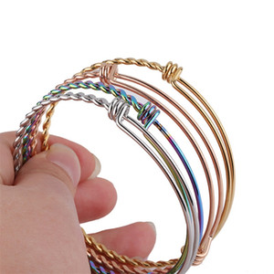 Wholesale silver stainless steel bangles for men resale online - DIY Stainless Steel Expandable Adjustable Bracelets Bangle For Women Men mm mm mm Size Twisted Wire Knot Bracelet Jewelry O2
