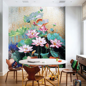 Wholesale art glass mosaic tile resale online - Customized Lotus Flower Glass Mosaic Mural Art Wall Tiles Glimmer Ice Jade Glass Mosaic tile Luxury Home decoration1