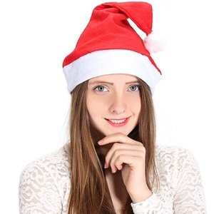Wholesale santa hats resale online - Red Santa Claus Hat Ultra Soft Plush Christmas Cosplay Hats Christmas Decoration Adults Christmas Party Hats IIA735