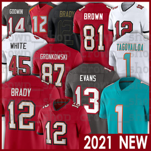 marrons do futebol venda por atacado-12 Tom Brady Tua Tuavailoa Mike Evans Rob Gronkowski Chris Godwin Antonio Brown Winfield Devin White Alstott Football Jerseys