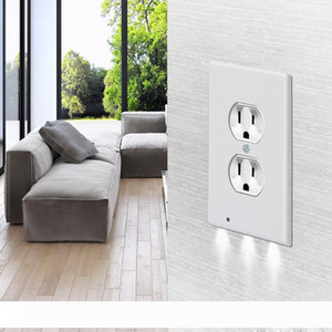 Night Angel US Plug Wall Outlet Cover Plate Plug Cover With LED Lights Panel Light Single Hole Hallway Bathroom