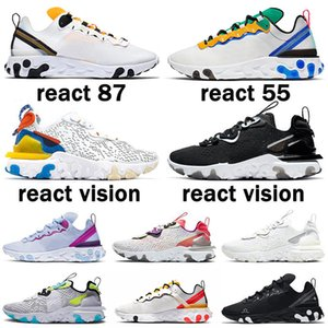 87 sapatos de corrida venda por atacado-2021 New React Vision Element Triple Black White S Anthracite Men Women Running Shoes Iridescent Outdoor Mens Trainers Sports Sneakers
