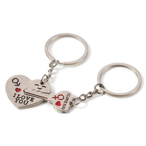 ingrosso anello argenteo-Coppia Valentines Keychain I Love You Letter Keychains Heart Key Anello Silvery Love Amore Catena chiave Souvenirs Valentine s Day Regalo FFD4139