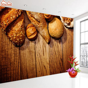 Wholesale wood wallpapers resale online - ShineHome Bake Bakery Bread Wood d Wallpaper for Walls d Living Room Cafe Background Wallpapers Mural Roll Wall Paper1
