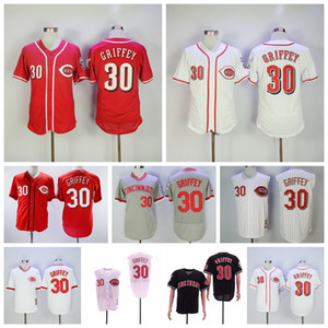rojo camisetas de béisbol negro al por mayor-Vintage Ken Griffey JR Jersey de béisbol Men FlexBase Pullover Pinstripe Team Red White Grey Black Stitched Retire Top Calidad