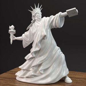 Wholesale antiques home decor resale online - Modern Art Statue of Liberty Throw Torch Banksy Riot of Liberty London Art Fair Resin Sculpture Home Decor Creative Gift