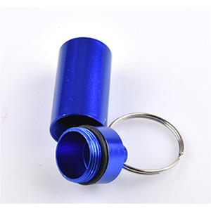 Wholesale waterproof key box resale online - Travel Aluminum Alloy Waterproof Pill Box Case Keyring Key Chain Medicine Storage Organizer Bottle Holder Contai jllHcS sinabag