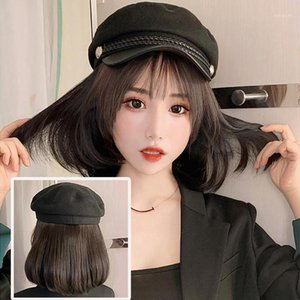 Wholesale short straight hair extensions resale online - Women Stylish Bob Straight Short Wig Hairpiece Hair Extension with Peaked Cap Naturally Connect Hat Wig Adjustable1