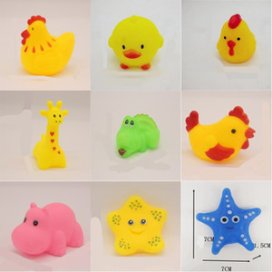 Wholesale bathe toys for sale - Group buy Mixed Animals Swimming Water Toys Colorful Soft Floating Rubber Duck Squeeze Sound Squeaky Bathing Toy For Baby Bath Toys G2