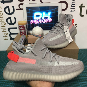 Top Quality Kanye West Men Women Running Shoes Zebra Tail Light Cinder 3M Static Reflective Carbon Linen Womens Sport Trainers Sneakers With Box