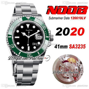 2020 Top N V11 41mm SA3235 Automatic Green Ceramics Bezel Black Dial Mens Watch Blue Luminous 904L Steel Case And and Bracelet Puretime