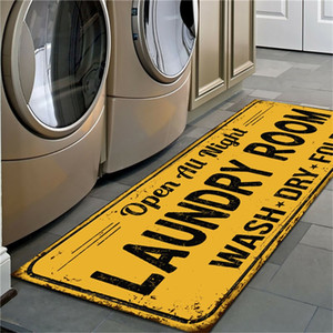 Wholesale rug bathroom resale online - Non Slip Floor Mats Yellow Black Bathroom Balcony Laundry Room Pattern Rug Home Decor Supplie New xk2 J2