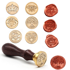 Wholesale wax seals stamps resale online - Tree Pattern Wax Seal Stamps Retro Happy Birthday Antique Wooden Sealing Scrapbooking Sollos stempel Craft Wedding Decorative Free DHL