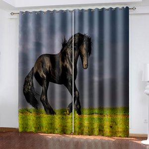 Wholesale black curtains for sale - Group buy Luxury Blackout D Window Curtains For Living Room Bedroom black horse curtains Decoration curtain