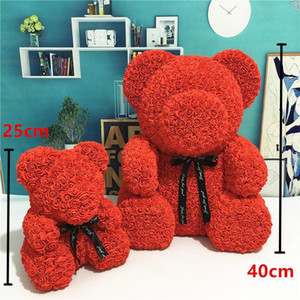 Wholesale valentine days resale online - Fast Delivery PE Plastic Artificial Flowers Rose Bear Foam Rose Flower Teddy Bear Valentines Day Gift Birthday Party Spring Decoration