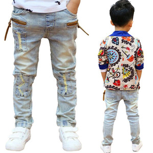 Wholesale boy jeans resale online - Boys clothes T boys spring cotton long trousers kids jeans children Korean style denim trousers teenage high quality pants F1203