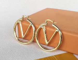 Wholesale silver earring hoops resale online - Fashion gold hoop earrings for lady Women Party Wedding Lovers gift engagement Jewelry for Bride