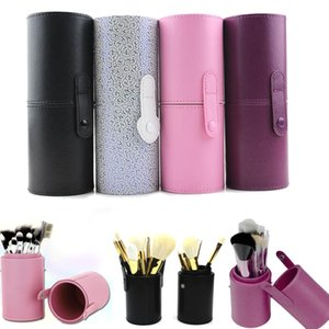 Wholesale make pen holders resale online - PU Leather Travel Makeup Brushes Pen Holder Storage Empty Holder Cosmetic Brush Bag Brushes Organizer Make Up Tools