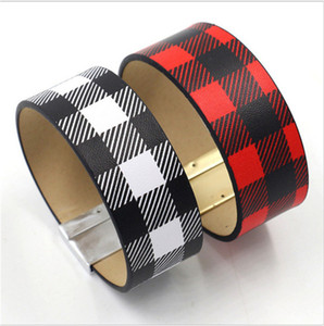 ingrosso braccialetti in pelle rossa donne-BUFFALO PLAid PU Bracciale in pelle Braccialetto da donna Black Black Red Checkered Band Polso Girls Black White Plaids FAI DA TE Retro Braccialetto GRANDE Braccialetto E120701