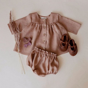 Wholesale baby ruffle clothing resale online - INS New Infant Cotton Linen outfits girls single breasted long sleeve shirt Ruffle PP Shorts sets Spring newborn baby kid clothes A5451