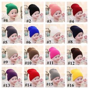 Wholesale ski cloths resale online - Fluorescent Candy Color Beanie Knitted Winter Hats Kids Ski Hat Skull Caps Slouchy Warm Knit Solid Blank Beanies Children Caps Cloth E112602