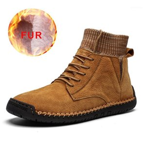 Wholesale lether shoe resale online - New Winter Shoes Men Warm Men Boots Comfortable Plush Lether Ankle Snow Boots Waterproof Footwear Male Lightweight Big Size