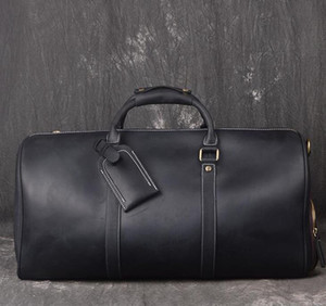 Wholesale genuine leather suitcase resale online - Top quality Men Duffle bag cm Genuine Leather Travel Hand Luggage Handbags Large Cross body Totes suitcase With lock key duffel Bag