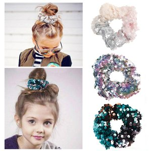 Wholesale dancing hair resale online - Women Girls reversible Shiny Sequin Scrunchies Glitter Hair Ties Ponytail Holders Rope Dance scrunchy Elastic Hair Bands Accessories K2