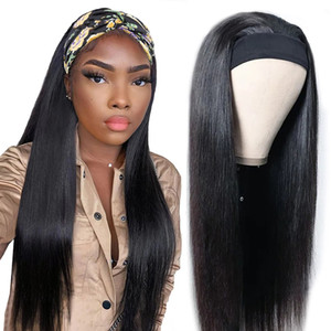 Wholesale silky scarfs resale online - 150 Density Headband Wig Human Hair Brazilian Straight Human Hair Pre Attached Scarf Machine Made Wig For Black Women Scarf Wig