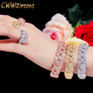 Wholesale dubai plated gold big set resale online - CWWZircons Luxury Big African CZ Bangle Bracelet Ring Sets Fashion Dubai Gold Silver Plated Jewelry for Women Party Wedding T373 Z1201