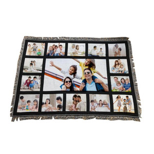 Wholesale print portable for sale - Group buy 9 Penels Blankets Sublimation Blank Blanket with Tassels Grids Mat Heat Transfer Printing Sofa Blankets Throw Blankets CCA12648