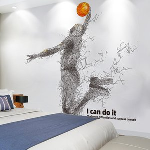 Wholesale basketball decals wall stickers resale online - Basketball Player Wall Stickers DIY Cartoon Wall Decals for Kids Rooms Nursery Gymnasium Home Decoration LJ201128
