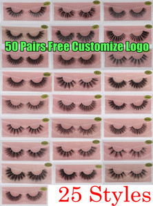 Wholesale black fake eyelash strips for sale - Group buy 3D Mink Eyelashes Faux Natural False Eyelashes D Mink Lashes Soft make up Extension Makeup Fake Eye Lashes D Eyelash Free Customize Logo