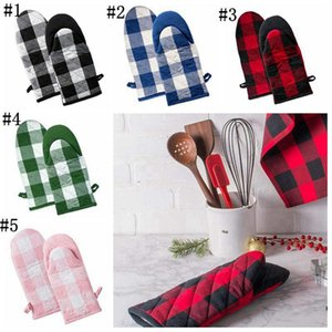 Wholesale heat protecting resale online - Oven Gloves Microwave Heat Proof Resistant Glove Convenient Finger Protect Anti hot Oven Glove Bakeware Gloves Colors Plaid RRC4258