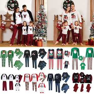 Wholesale christmas decorations style resale online - Christmas Family Pajamas Parent child Christmas Cosplay Costume Christmas decorations Family Party Costume Style Mom Dad Kids Size XD24274