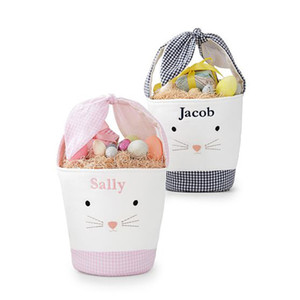 Wholesale bunny basket resale online - Easter Bunny Bags Barrel Bucket Basket Plaid Patchwork Cartoon Rabbit Ear Bowknot Canvas Tote Bag New Year Gifts Egg Candies Handbag E120906