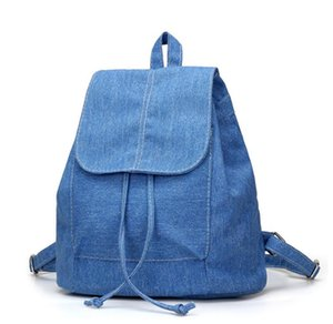 Wholesale bag blue jeans backpack for sale - Group buy Cheap Women denim Backpacks for teenage Girls Small Drawstring Backpack jeans for Teenage Sac A Dos New Solid School Rucksacks