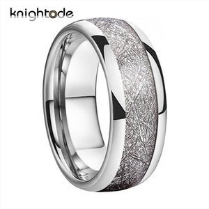 Wholesale silvery ring for sale - Group buy 8mm Silvery Tungsten Carbide Ring Wedding Band For Men Women White Meteorite Inlay Dome Engagement Ring Polished Comfort Fit Y1124