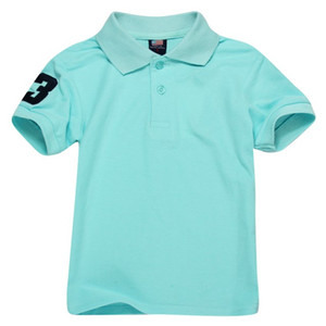 bebé remata camisetas al por mayor-Niños Polos T Shirt Camiseta para niños Mangas cortas Baby Poles T Shirt Boys Tops Ropa Bordado Tees Cotton T Shirts SkyBlue