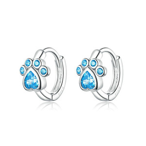 Wholesale cat earring sterling silver for sale - Group buy Cat Paw Blue Crystal Earring Lady Sterling Silver Ear Clasp Cute Shiny Bling Mini White Women Jewelry Accessories jm G2