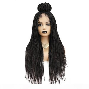 Wholesale hairstyles twists resale online - Synthetic Crochet Braiding Wig For Black Women Dreadlock Twist Braid Hairstyle With Baby Hair Long Straight African Wigs