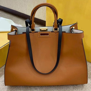 Wholesale women genuine leather design handbag resale online - Large Capacity Package Women Handbag Tote Bags Fashion Plain Genuine Leather Square Twist Lock Design High Quality Lady Crossbody Bag
