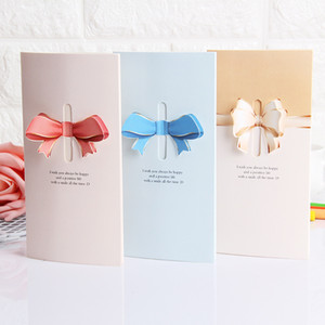 Wholesale valentine cards resale online - Love Bow Greeting Card Creative Folding D Love Heart Gift Card Holiday Birthday Valentine Day Greeting Cards DHA2753